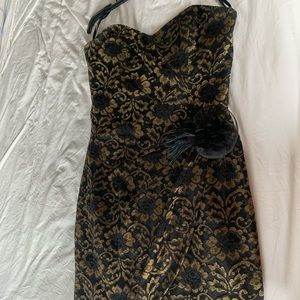 H&M Black & Gold Lace Strapless Cocktail Dress